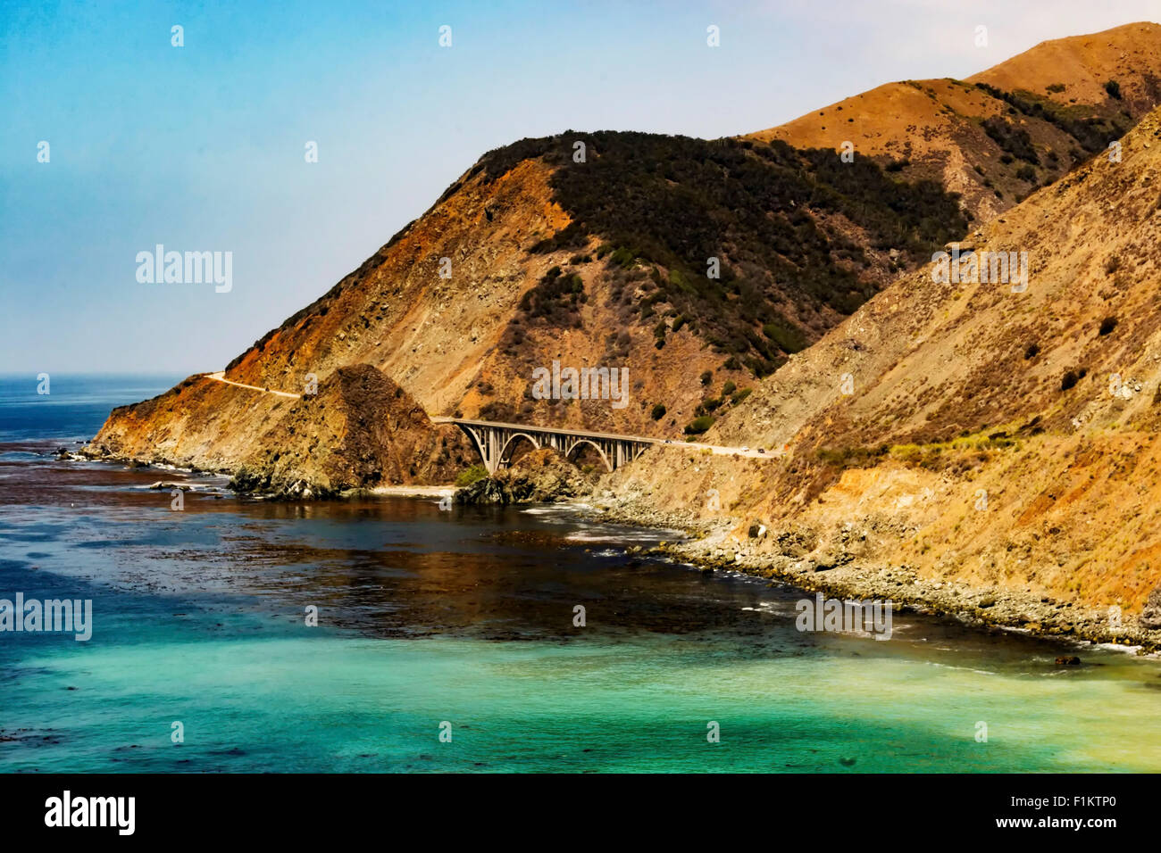 Big Creek Bridge on Pacific Coast Highway taken from the south - Stock Image