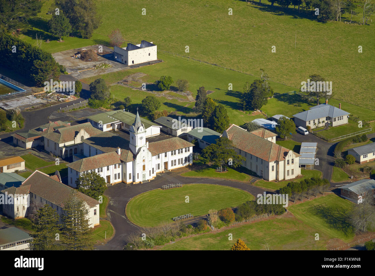 Former St Stephen's School, Bombay, South Auckland, North Island, New Zealand - aerial - Stock Image