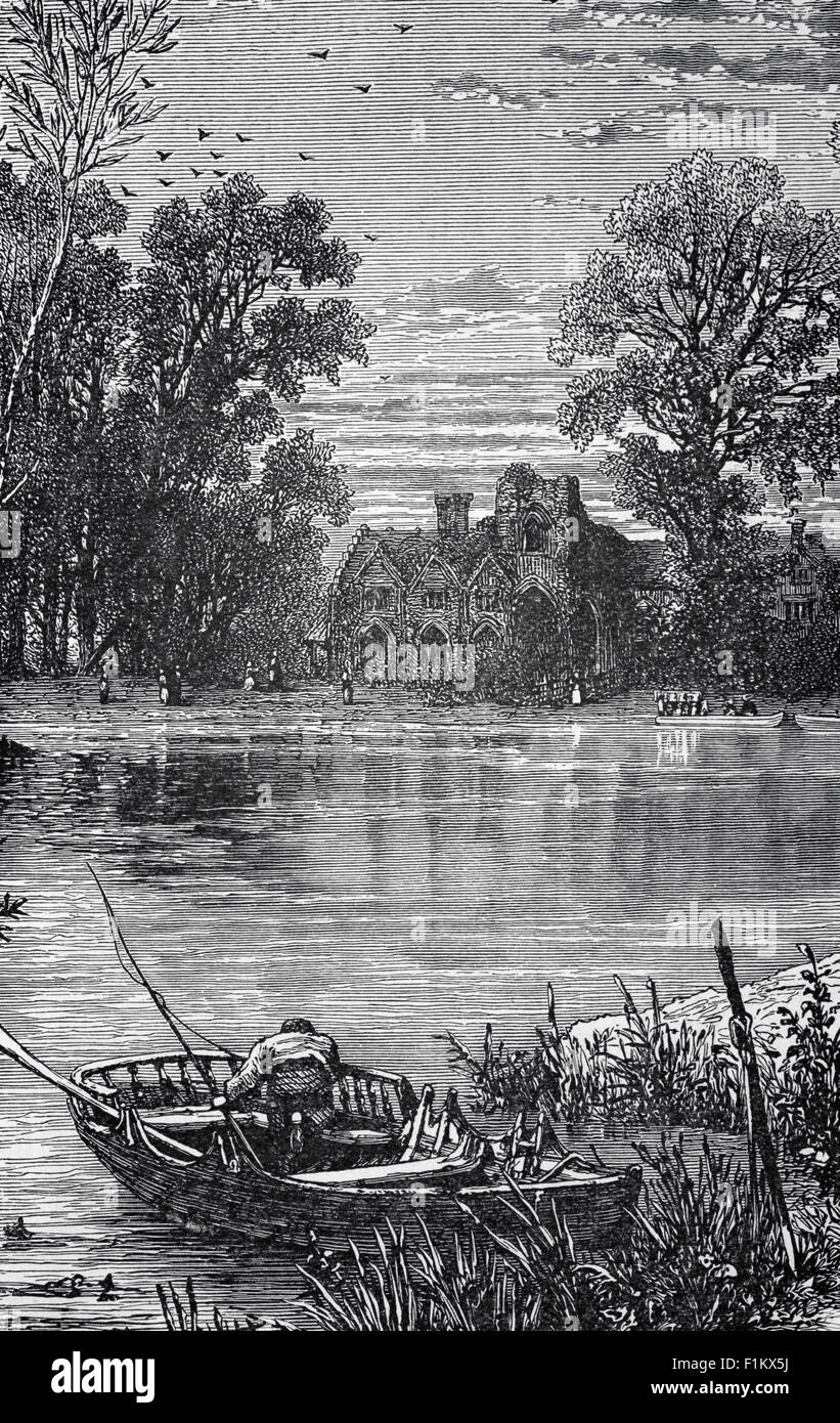 19th Century view of am angler on the River Thames as it flows passed Medmenham Abbey, Buckinghamshire, England. Stock Photo