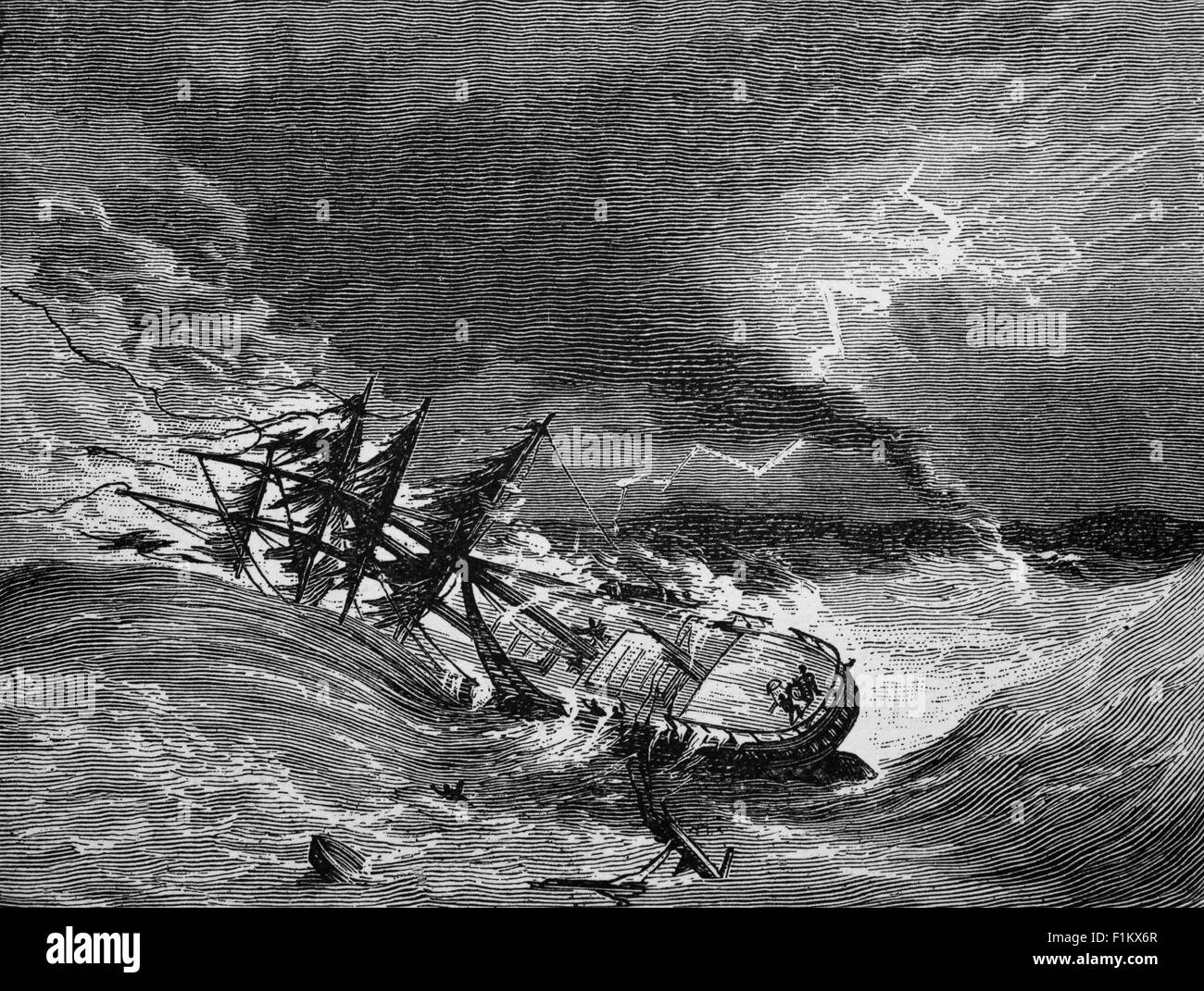 Ocean going sailing ship in distress, from a storm and waterspout. - Stock Image