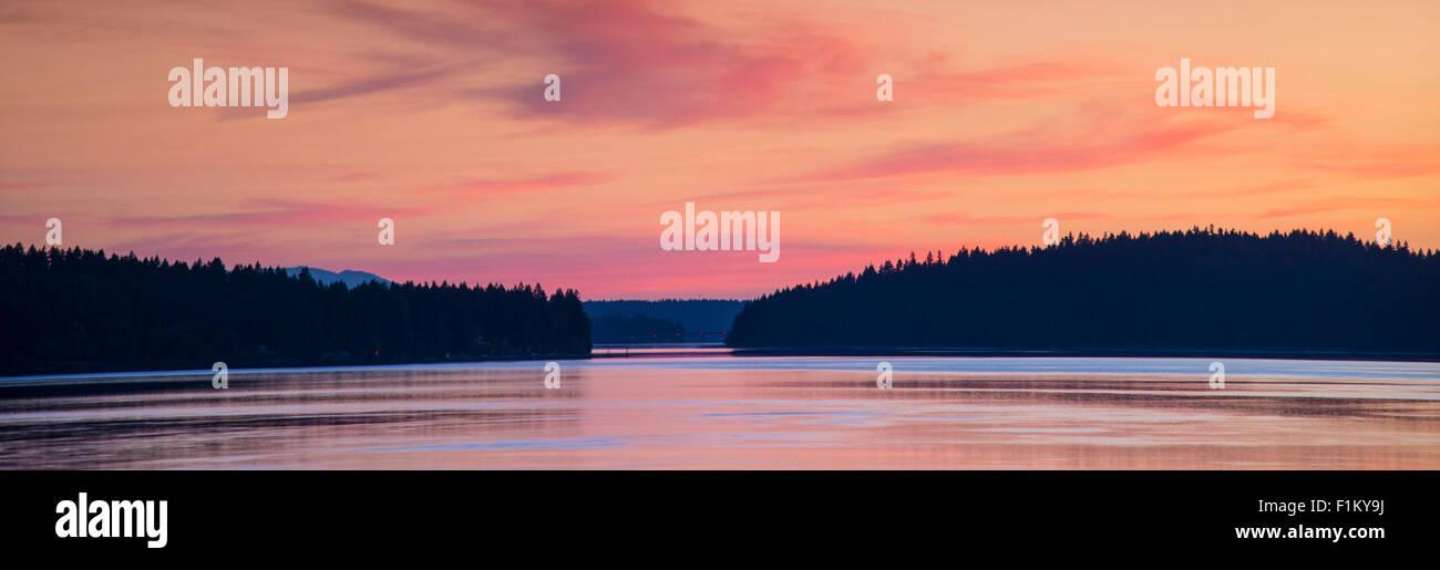 Early morning sunrise on the Puget Sound, State of Washington.USA - Stock Image