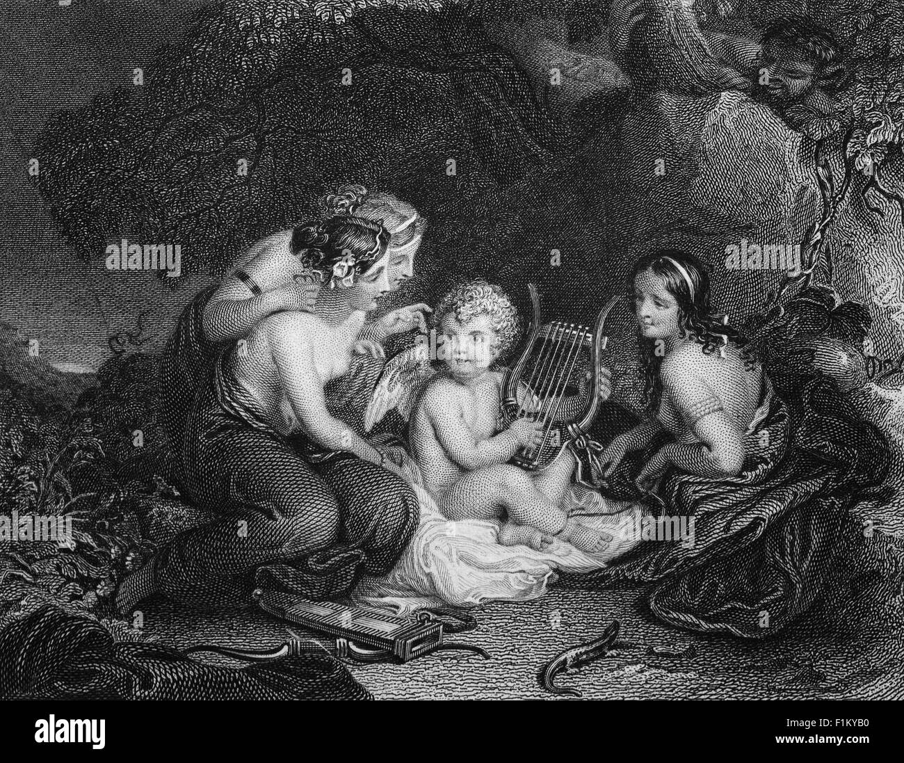 'Cupid Taught by the Graces',  watched by a hidden devil, From an Anonymous Poem. - Stock Image