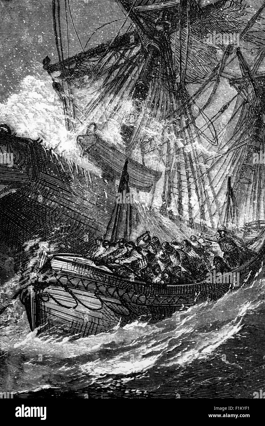 A Floundering Schooner and an early Victorian Lifeboat in the North Sea  Off the East Coast of England. - Stock Image