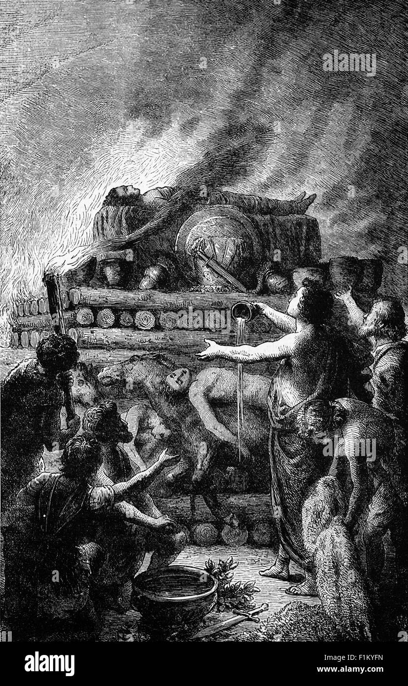 The Funeral Pyre of Patroclus, son of Menoetius, grandson of Actor, King of Opus, and Achilles's beloved comrade - Stock Image