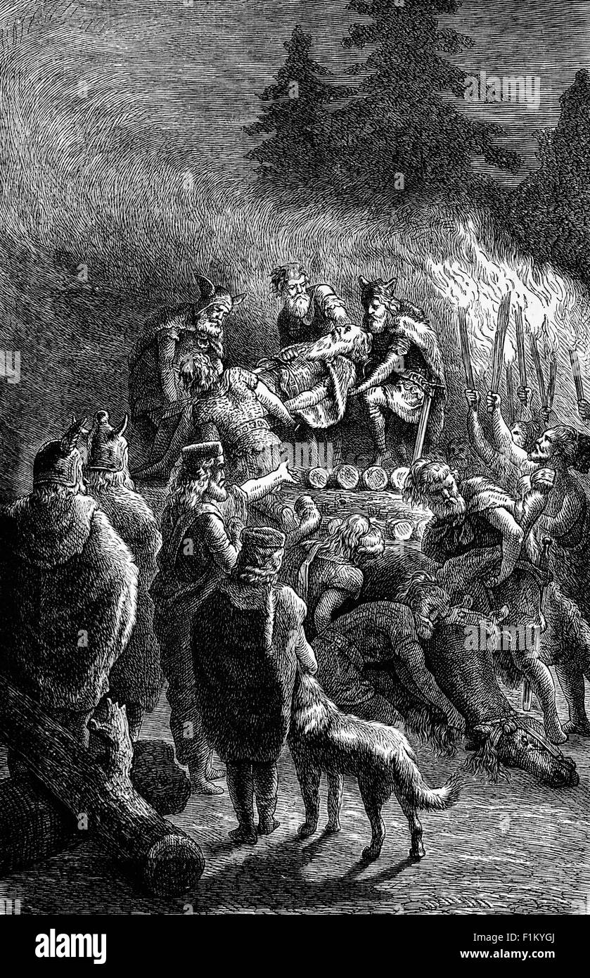 The Funeral Rite of a Barbarian Chief, i.e. a person who is perceived to be uncivilized or primitive. Second Century - Stock Image