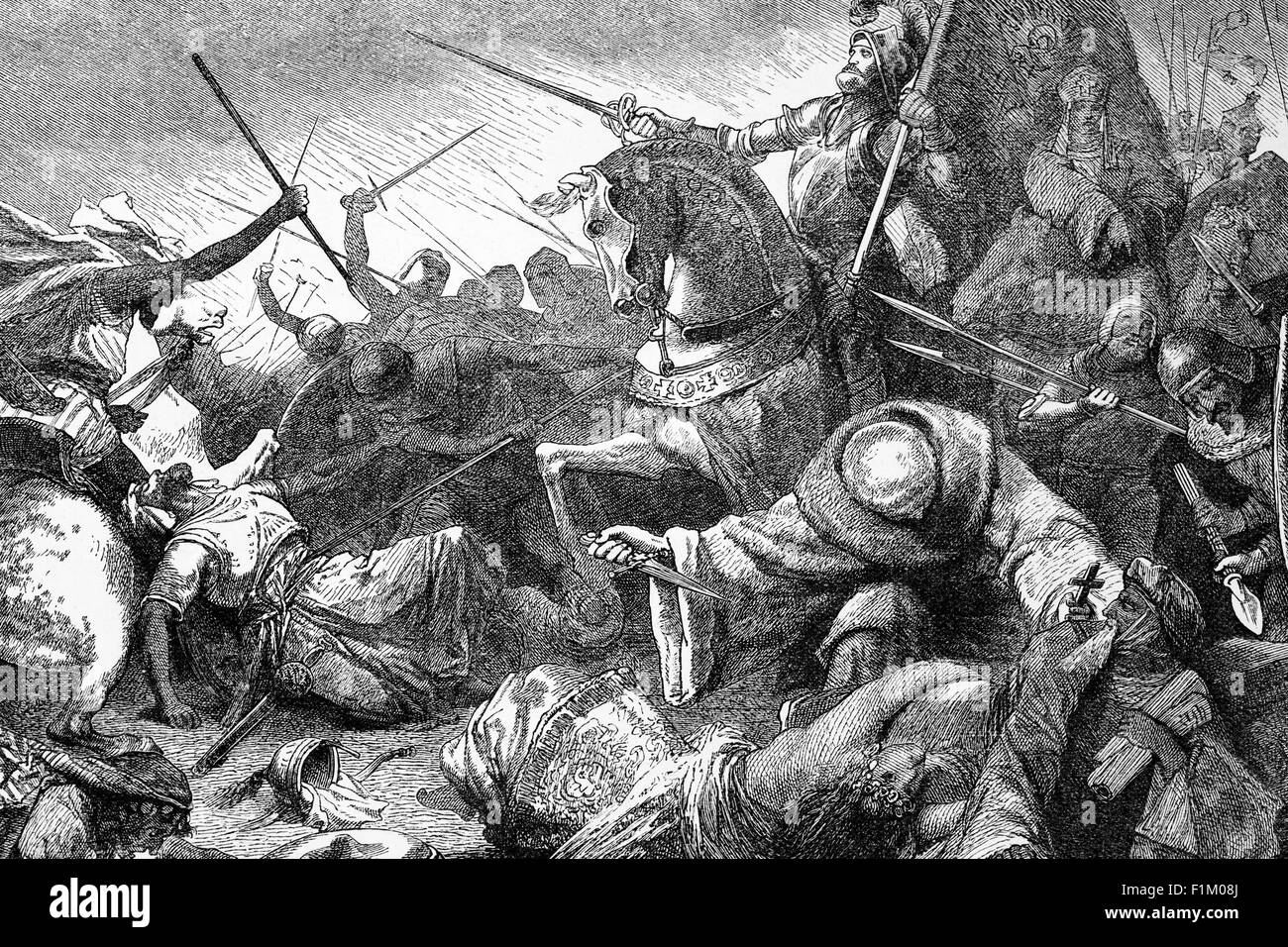 The Battle of Tolosa (or Battle of Al-Uqab) between the Moors and Christians, July 16, 1212 Near Las Navas de Tolosa, - Stock Image