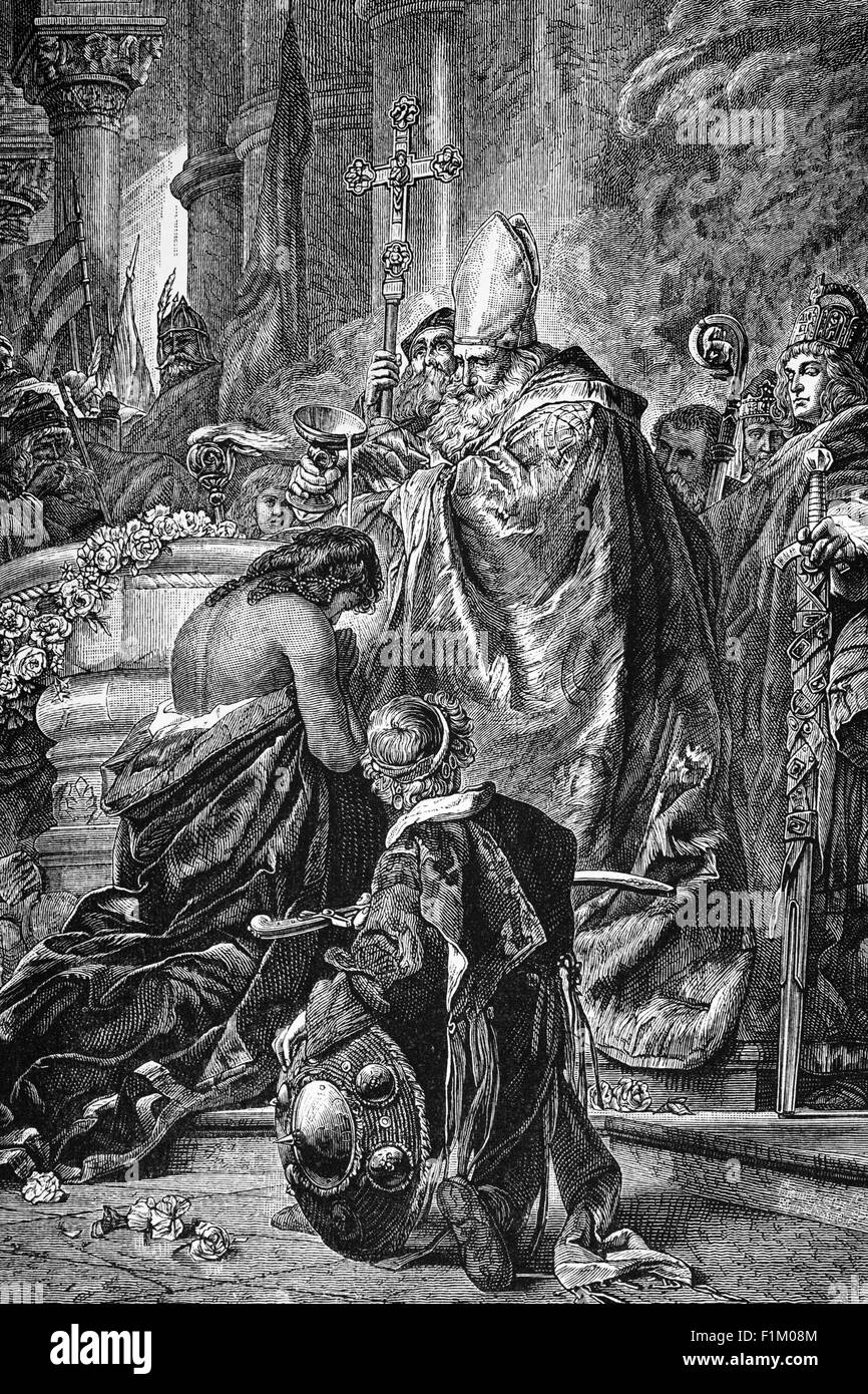 The Baptism of St  Stephen of Hungary, by Pope Gregory VII on the 20 August 1083. - Stock Image