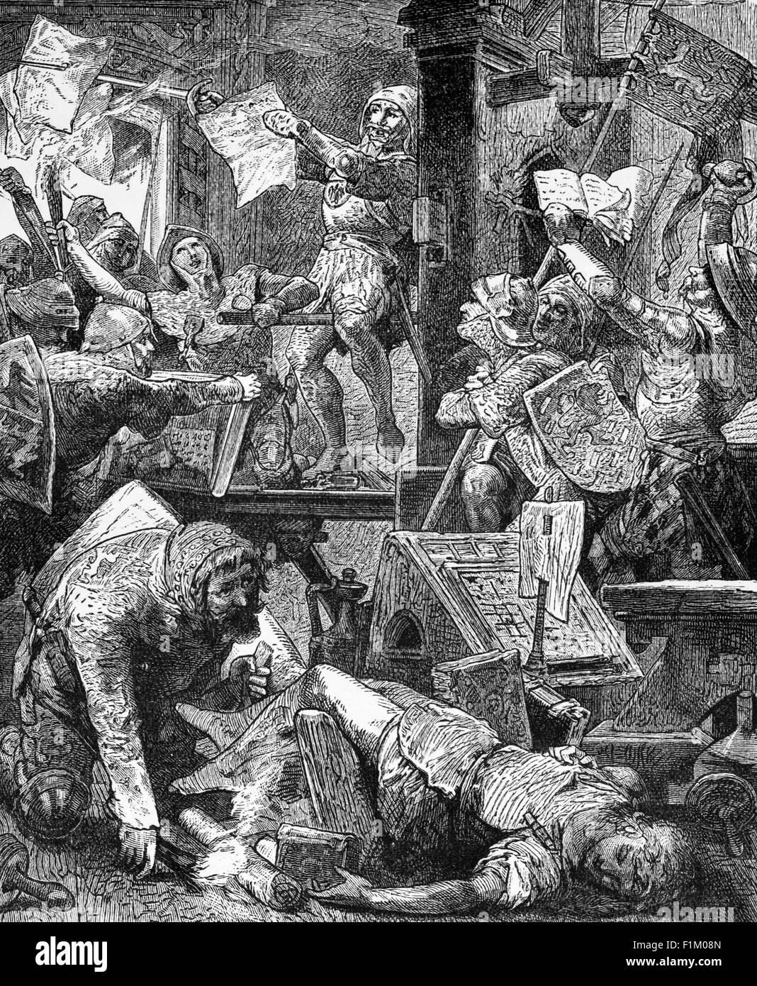 Destruction of printing presses during the Reformation, In 15th Century Germany. - Stock Image
