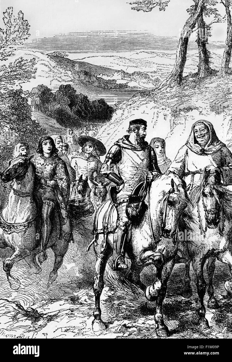 A Scene in Kent from the Canterbury Tales, Written by Geoffrey Chaucer (1328 - 1400) - Stock Image