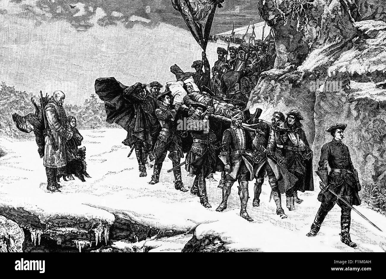 Troops bringing home the body of Charles XII of Sweden in 1718, possibly  assassinated by a fellow countryman. Following his siege of the Danish  fortress of ...