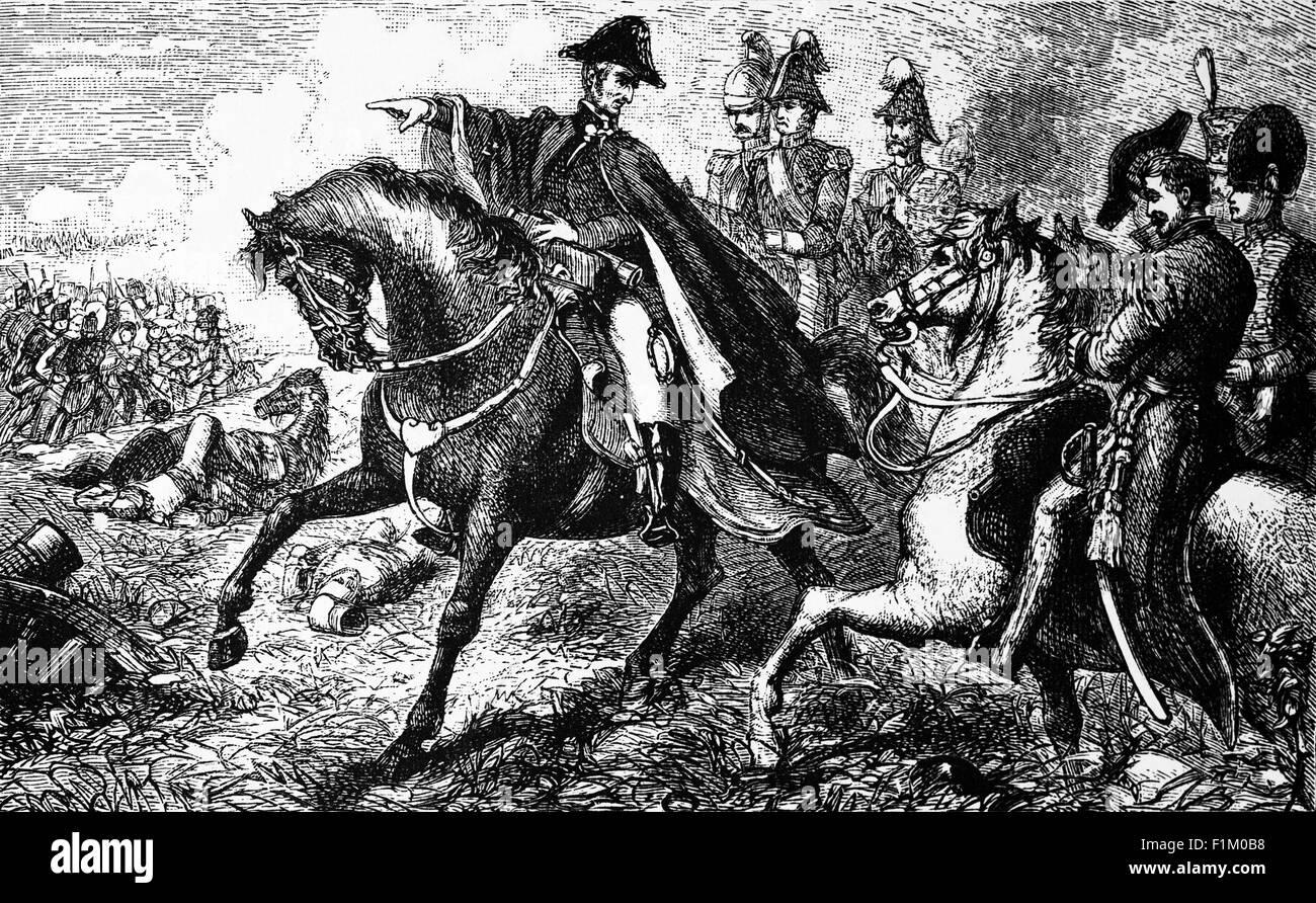 Duke of Wellington (aka The Iron Duke) directing maneuvres at Waterloo, The Battle against Napoleon Bonapartes Troops - Stock Image