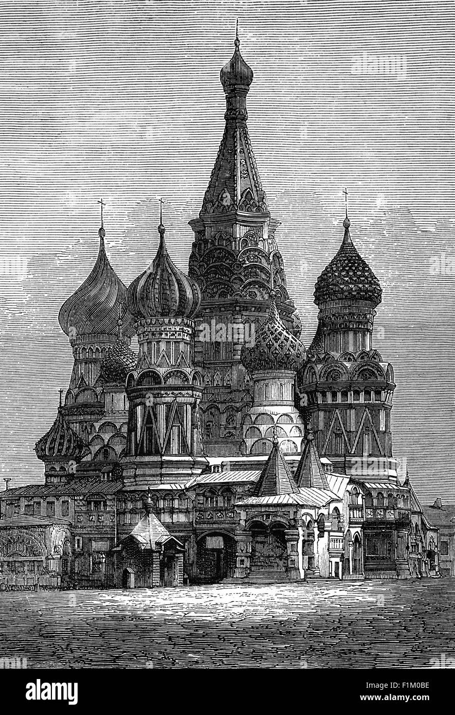 The Church of St Basil built from 1555–61 on orders from Ivan the Terrible  The church has been part of the Moscow Stock Photo