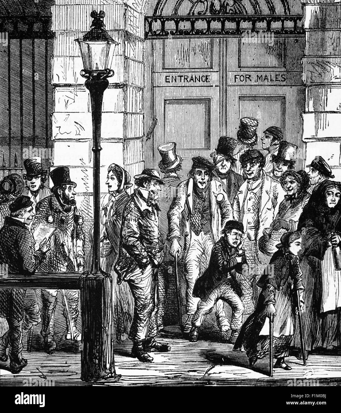 Patients Waiting At The Door Of A HospitalIn 19th Century England