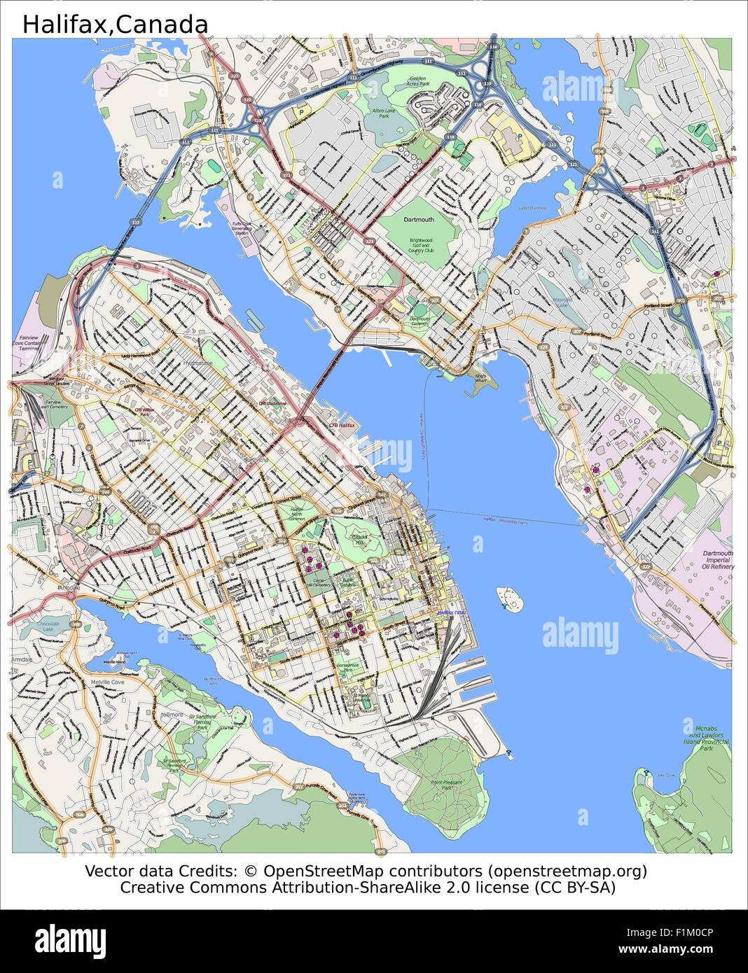 Halifax Canada map aerial view Stock Vector Art Illustration
