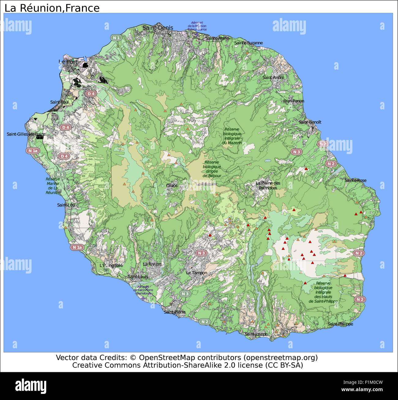 Reunion Island Map Stock Photos Reunion Island Map Stock Images