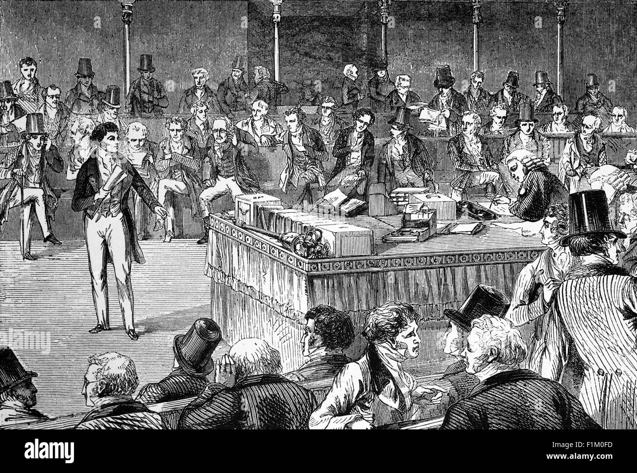 Lord John Russell, English Whig and Liberal politician, in the British House of Commons, Introducing the Reform - Stock Image