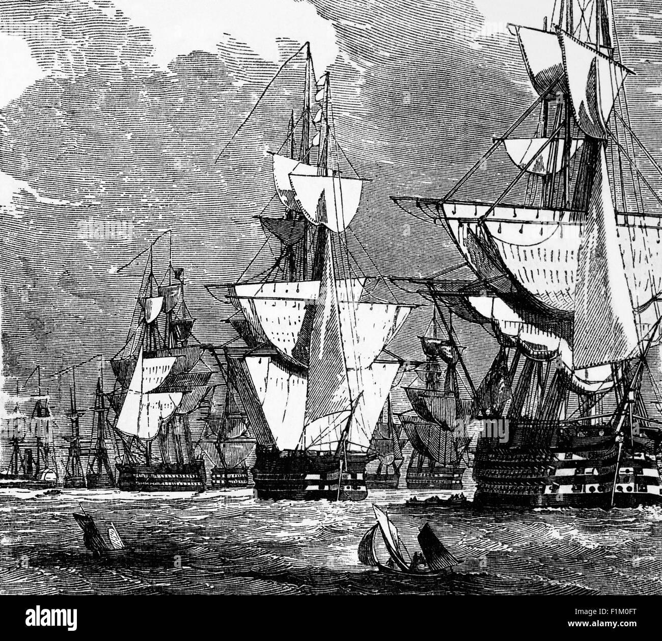 A line of English Battleships 1854 - Stock Image