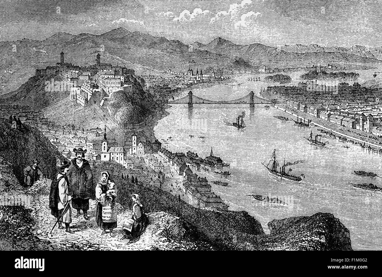 View of 19th Century Budapest, Capital of Hungary. - Stock Image