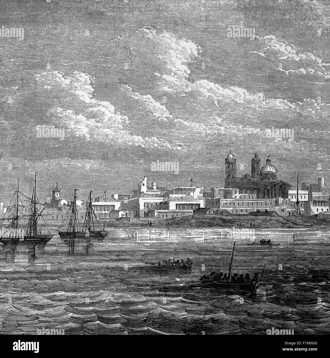 19th Century view of Buenos Aires, The capital of Argentina, South America - Stock Image