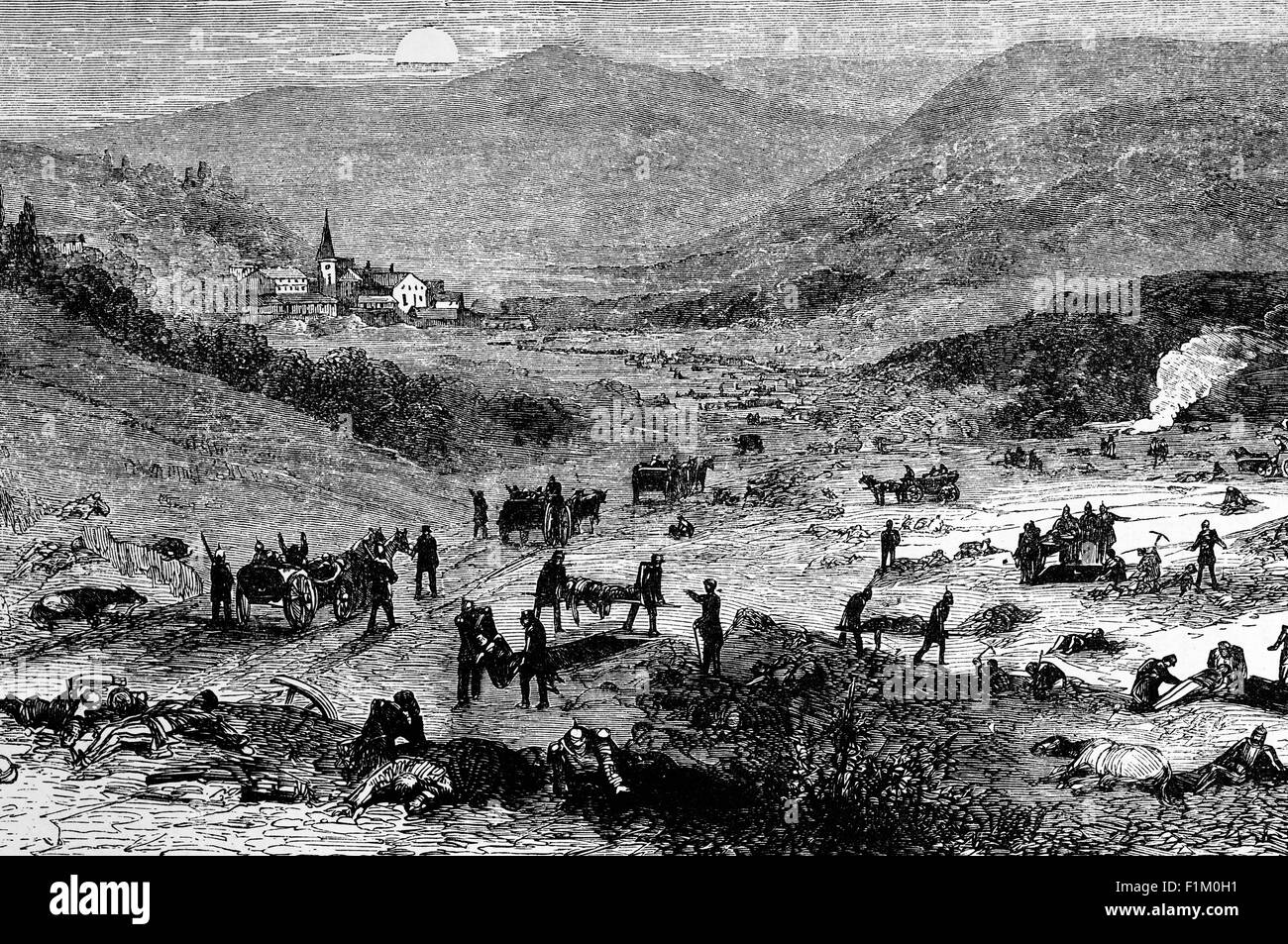 Recovering casualties on the Battlefield of Wœrth or Woerth, in the initial stage of the Franco-Prussian War in - Stock Image