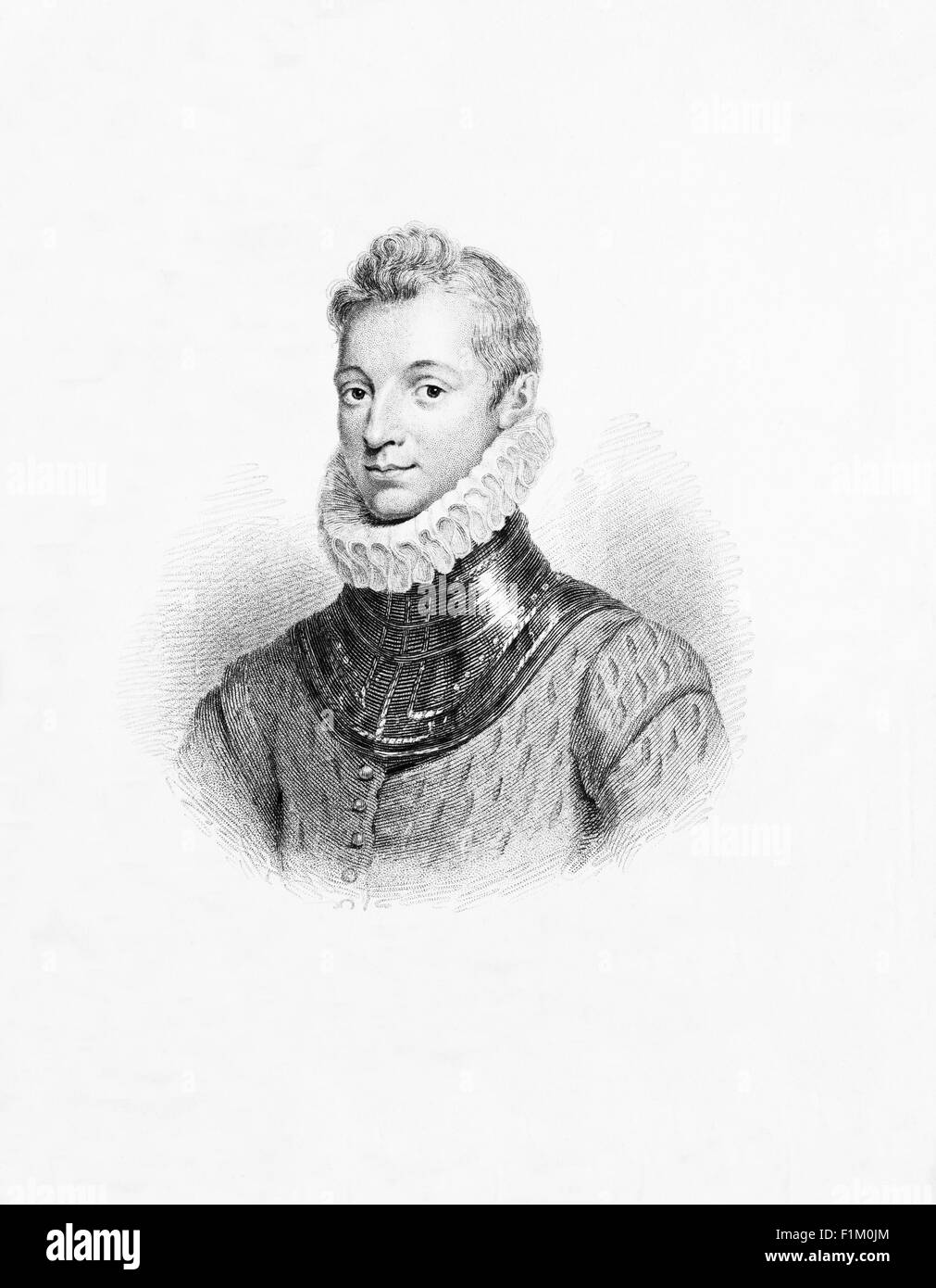 Sir Philip Sidney (1554 – 1586) an English poet, courtier and soldier, Remembered as one of the most prominent figures - Stock Image