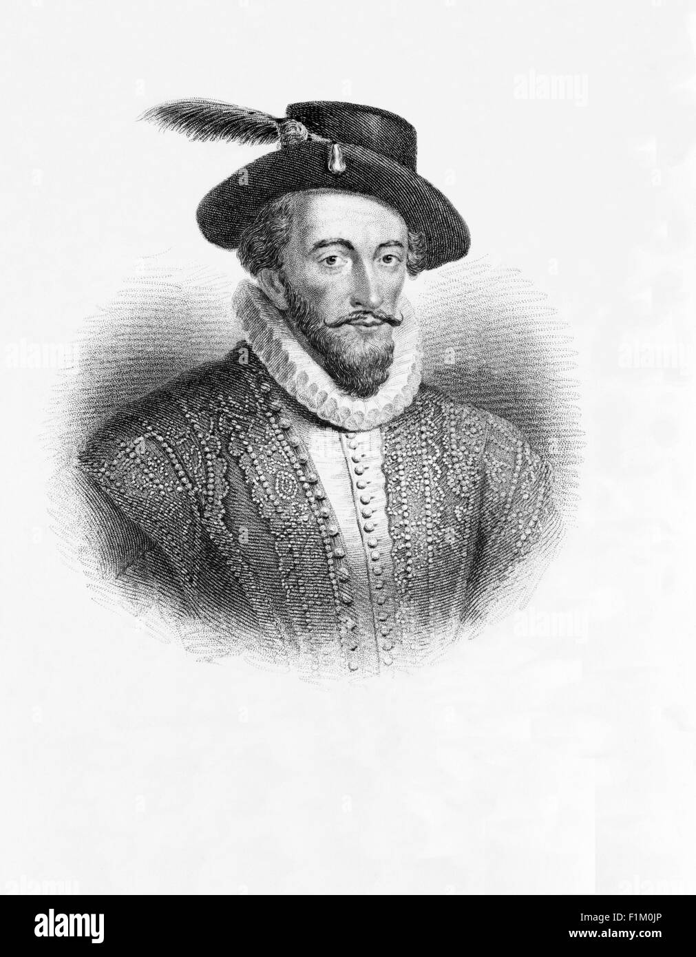 Sir Walter Raleigh 155?–1618).  English explorer and  favourite at the court of Queen Elizabeth I. He established - Stock Image