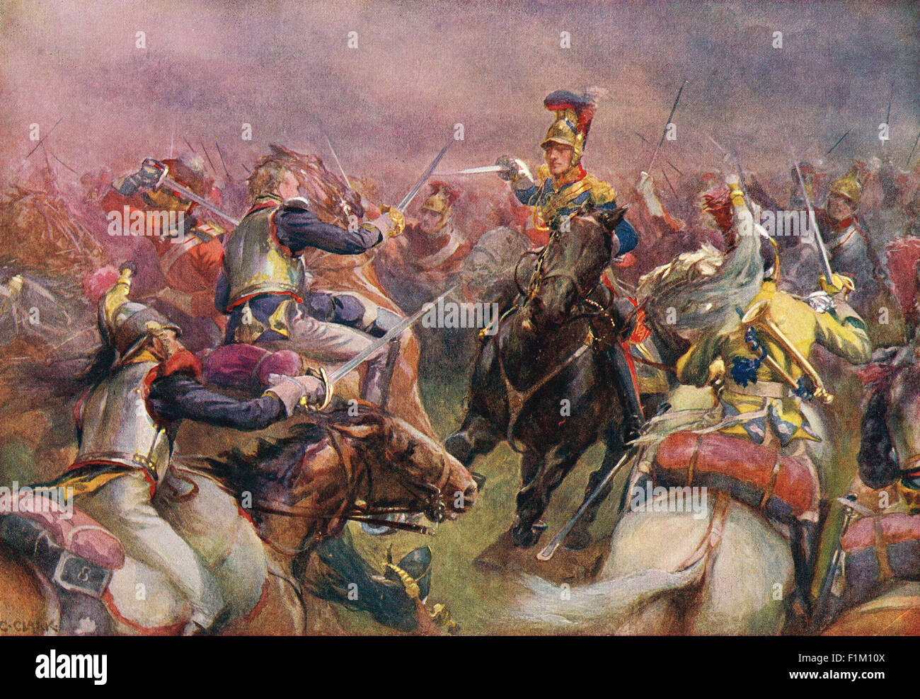 Charge of the Heavy Brigade Waterloo 1815 - Stock Image