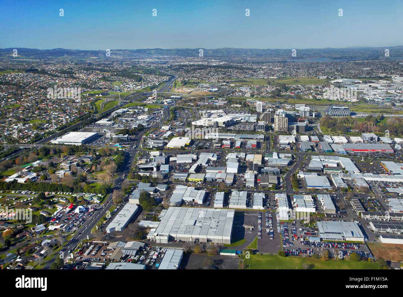 Manukau City Centre, Auckland, North Island, New Zealand - aerial Stock Photo