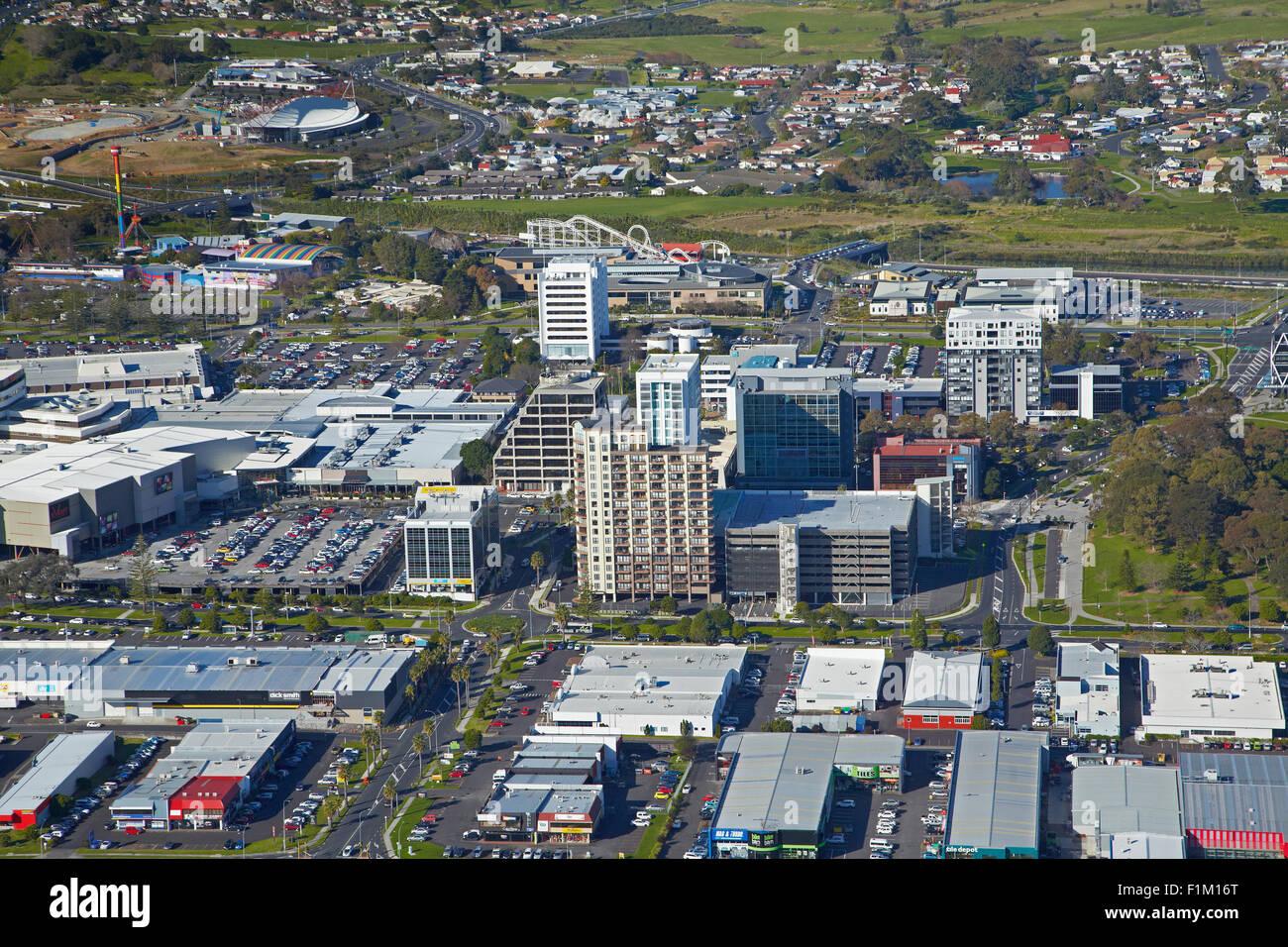 Manukau City Centre, Auckland, North Island, New Zealand - aerial - Stock Image