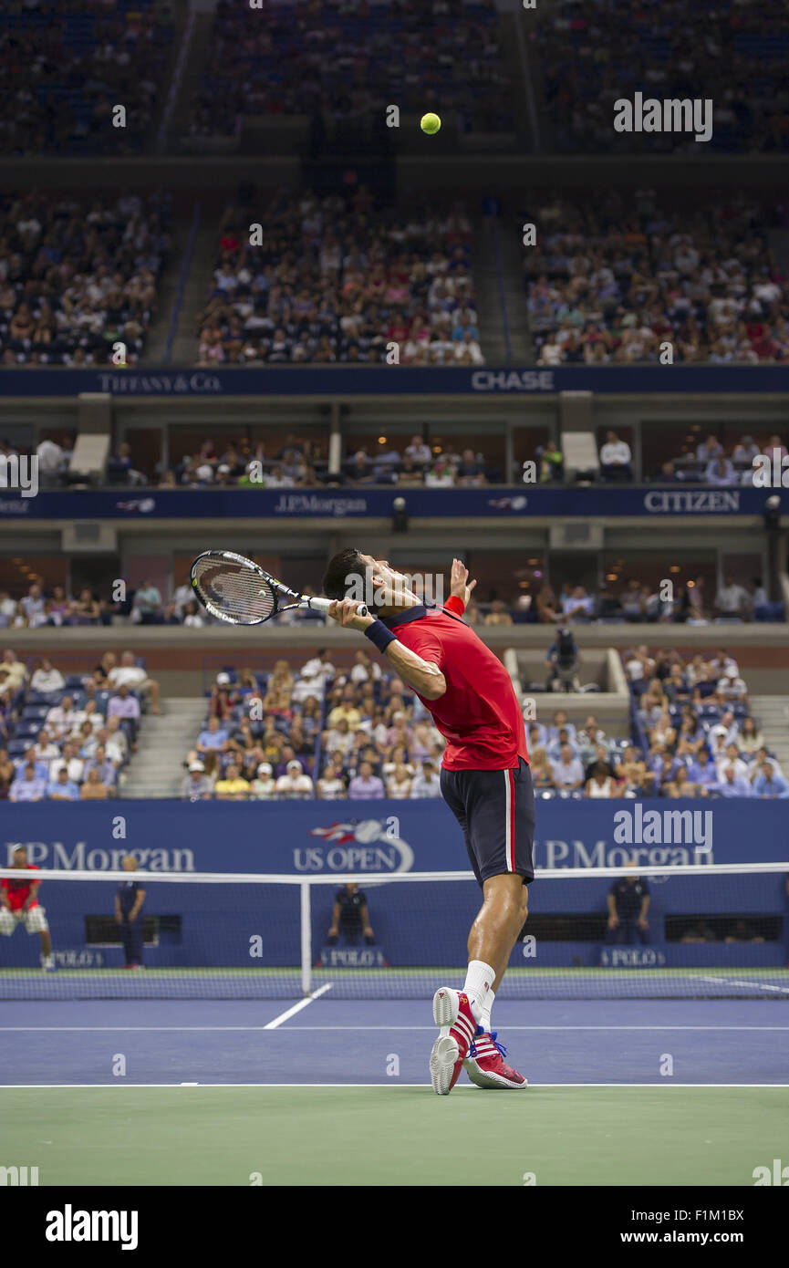 Flushing Meadow, NY, USA. 2nd Sep, 2015. NEW YORK-SEP 02: Novak Djokovic (SRB) in action here, defeats Andreas Haider - Stock Image