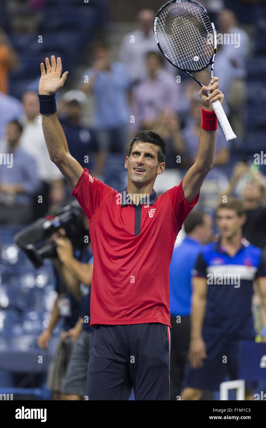 Flushing Meadow, NY, USA. 2nd Sep, 2015. NEW YORK-SEP 02: Novak Djokovic (SRB) celebrates after defeating Andreas - Stock Image