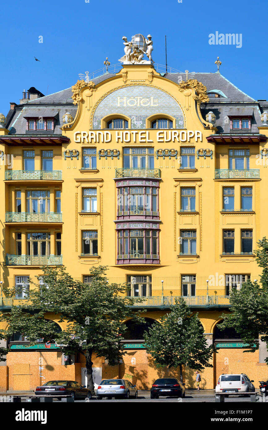 Art Nouvea building Grand Hotel Europa on the Wenceslas Square in historic Centre of Prague. - Stock Image