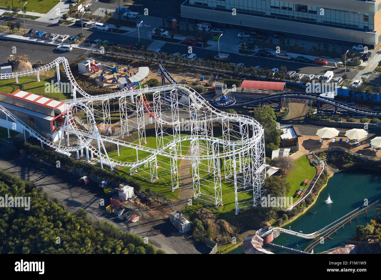 Rainbow's End theme park, Manukau, Auckland, North Island, New Zealand - aerial - Stock Image
