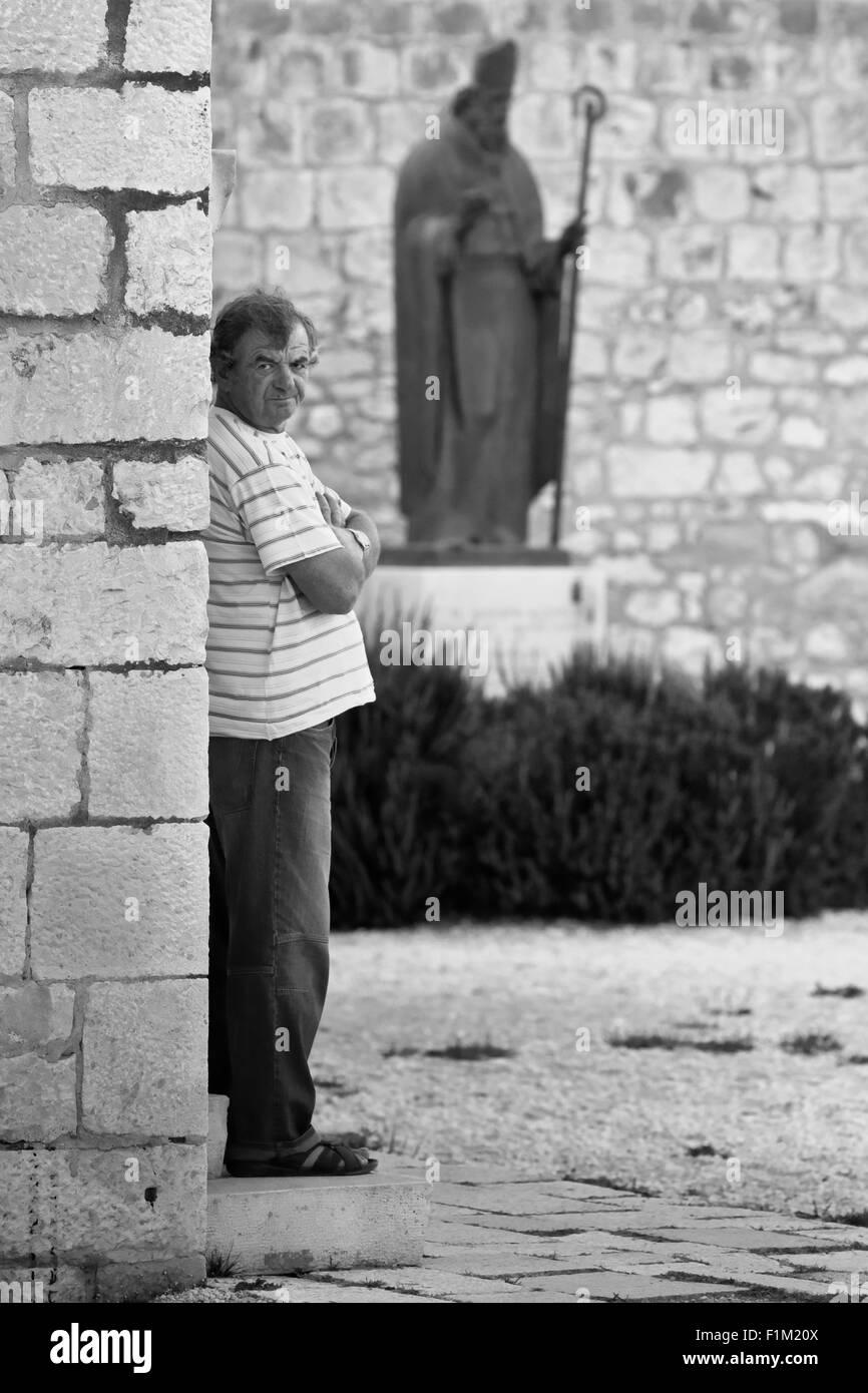St.Dominic statue in Trogir, Croatia - Stock Image