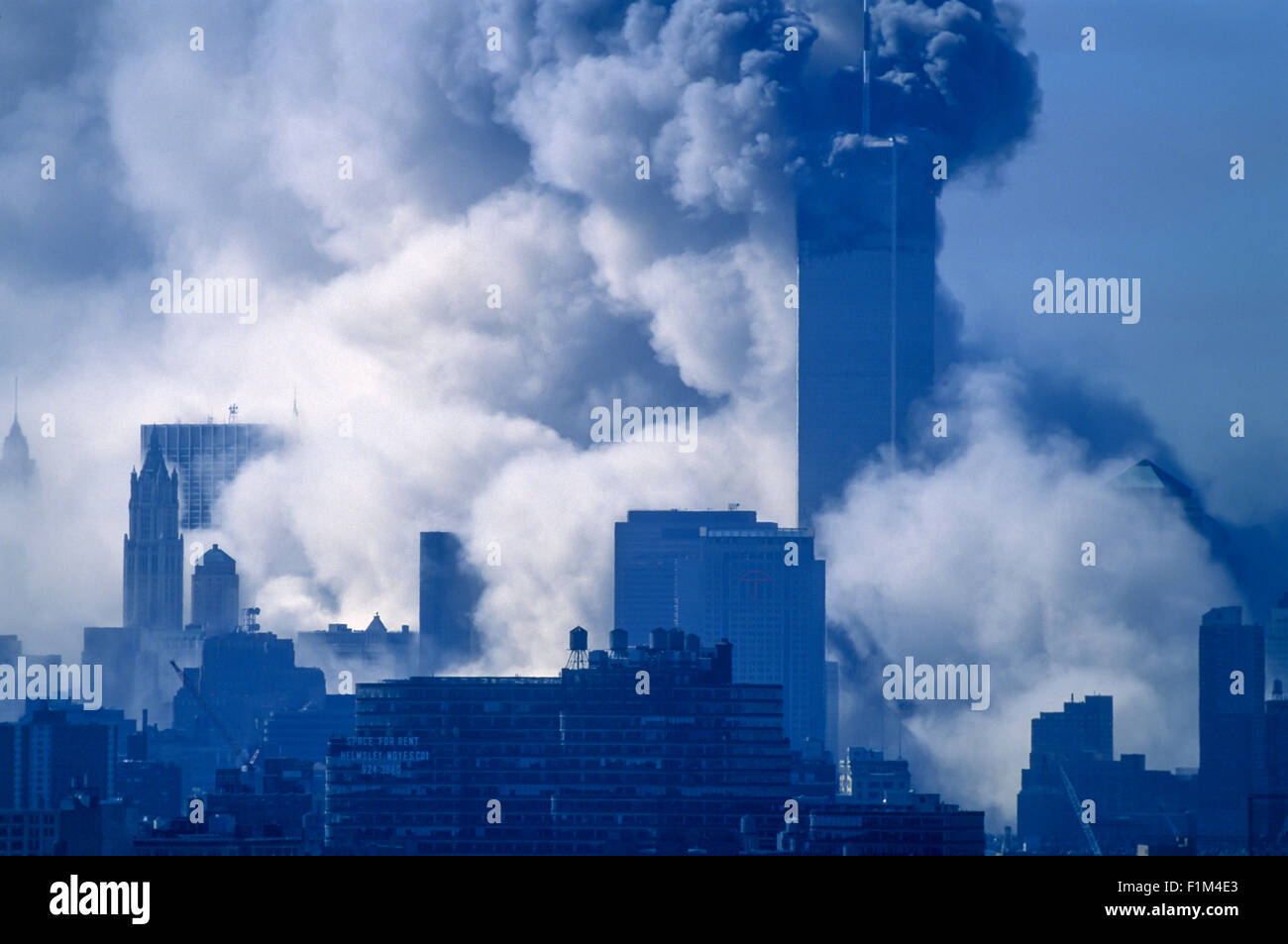 HISTORICAL SEPTEMBER 11 2001 WORLD TRADE CENTER ATTACK NEW YORK CITY USA SOUTH TOWER COLLAPSE 9.59 AM - Stock Image