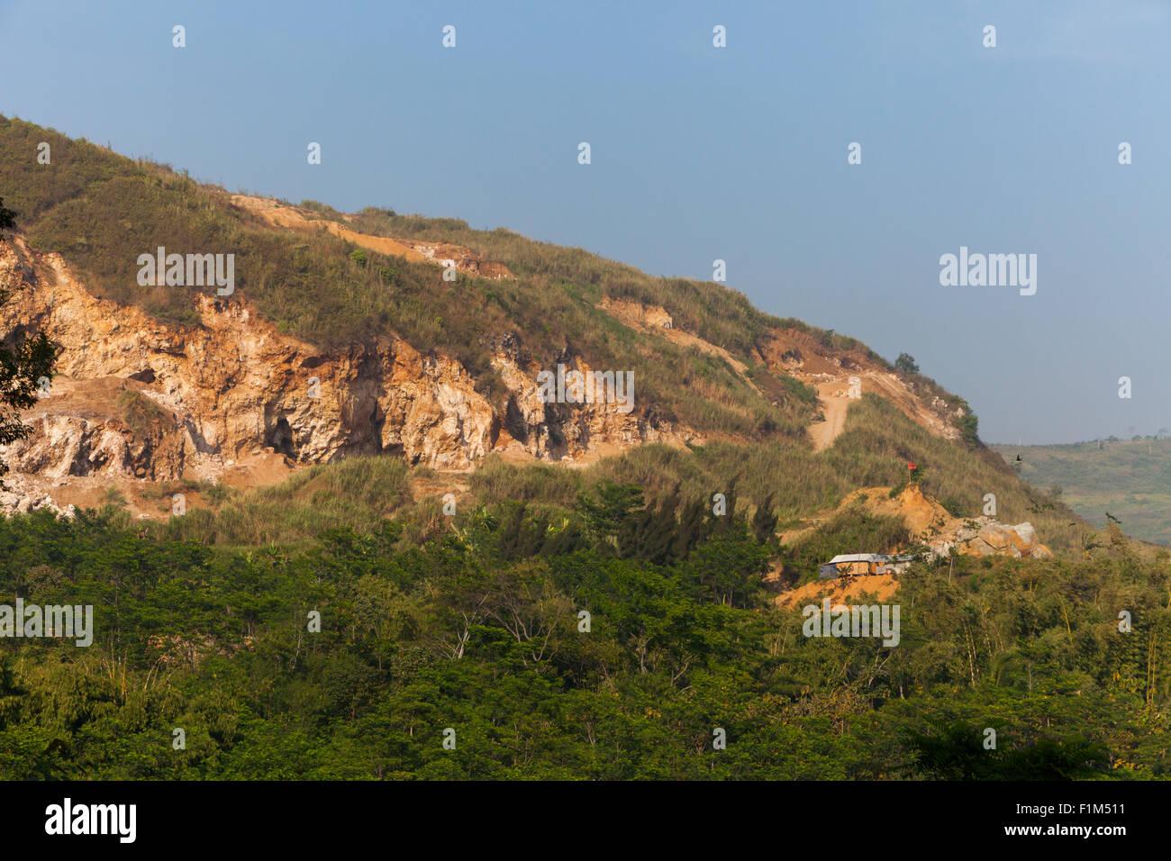Karst hill in Bandung Basin. Stock Photo