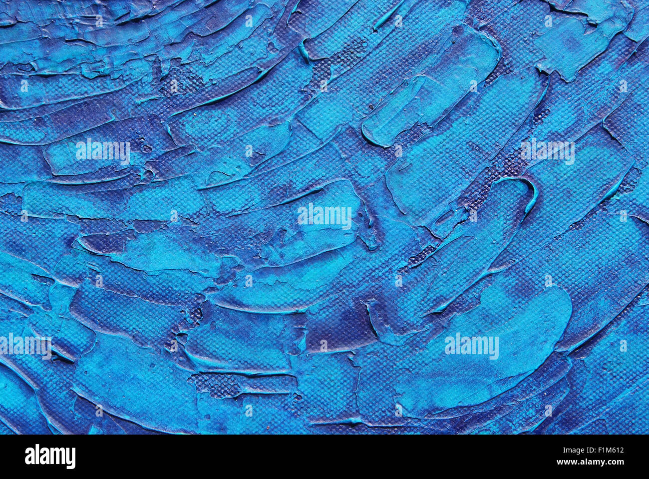 Blue texture background of acrylic painting on canvas Stock Photo