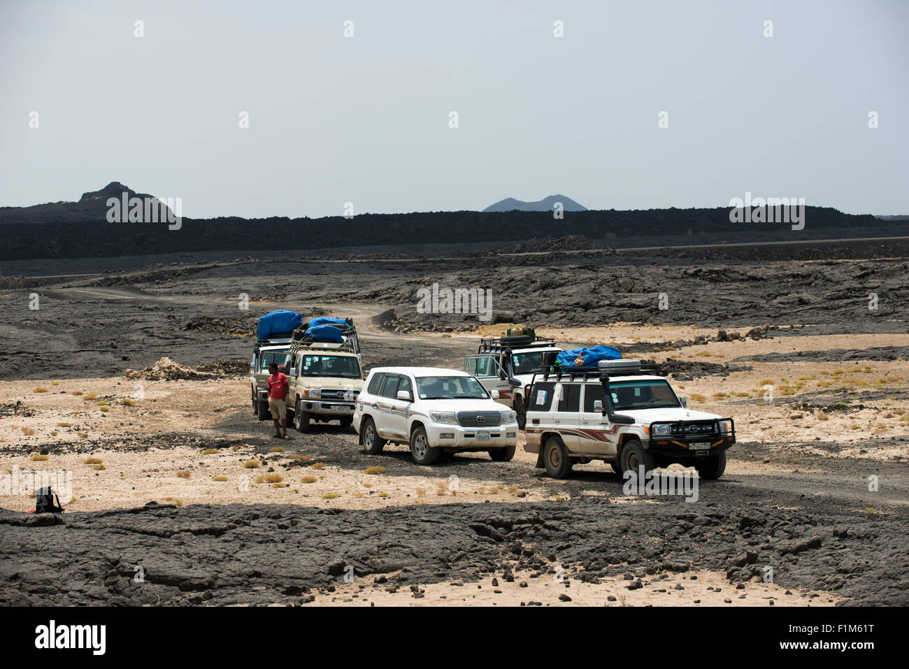An expedition in the Danakil Depression in Ethiopia. - Stock Image