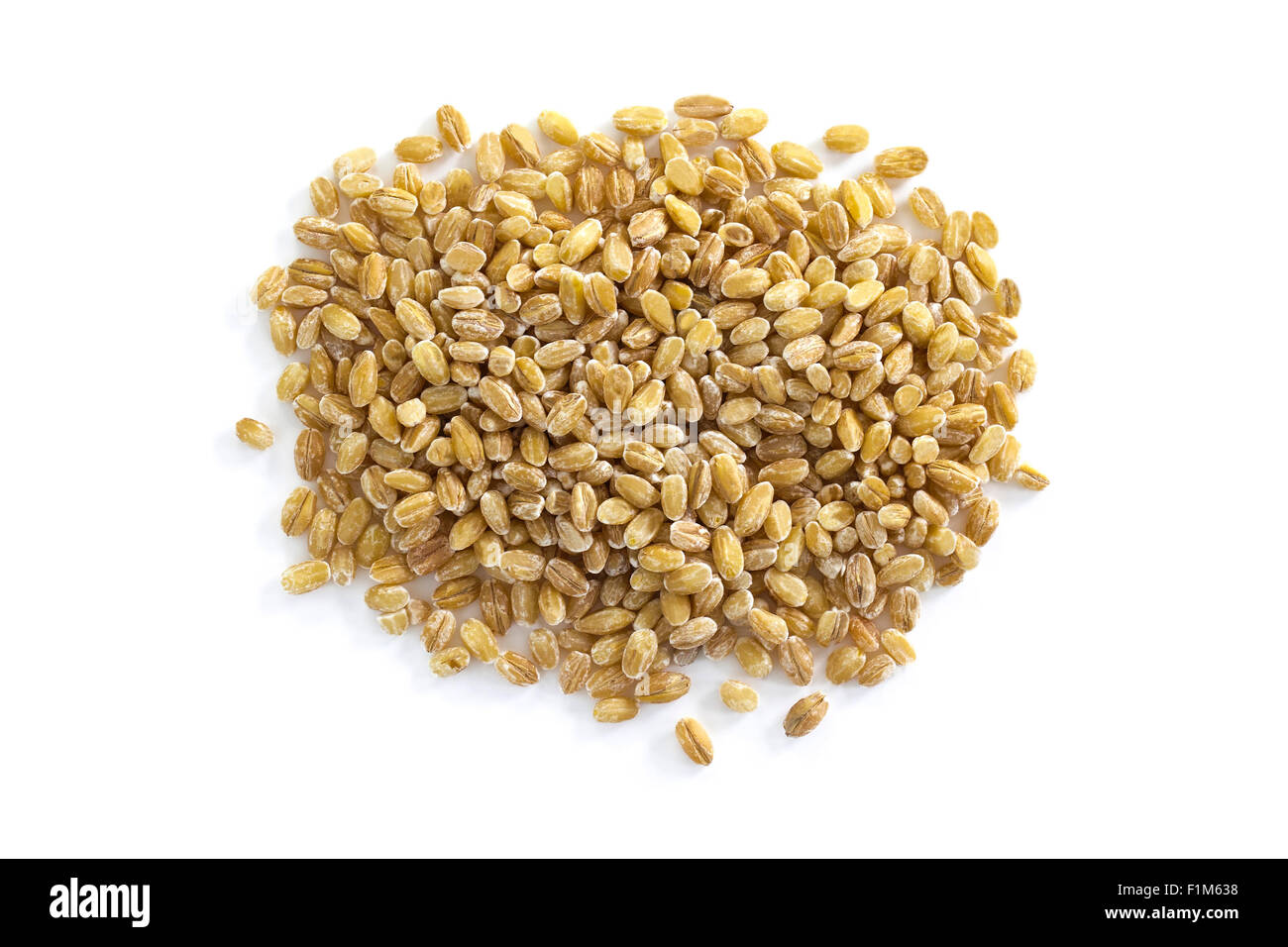 Pearl barley seeds from above isolated on a white background - Stock Image