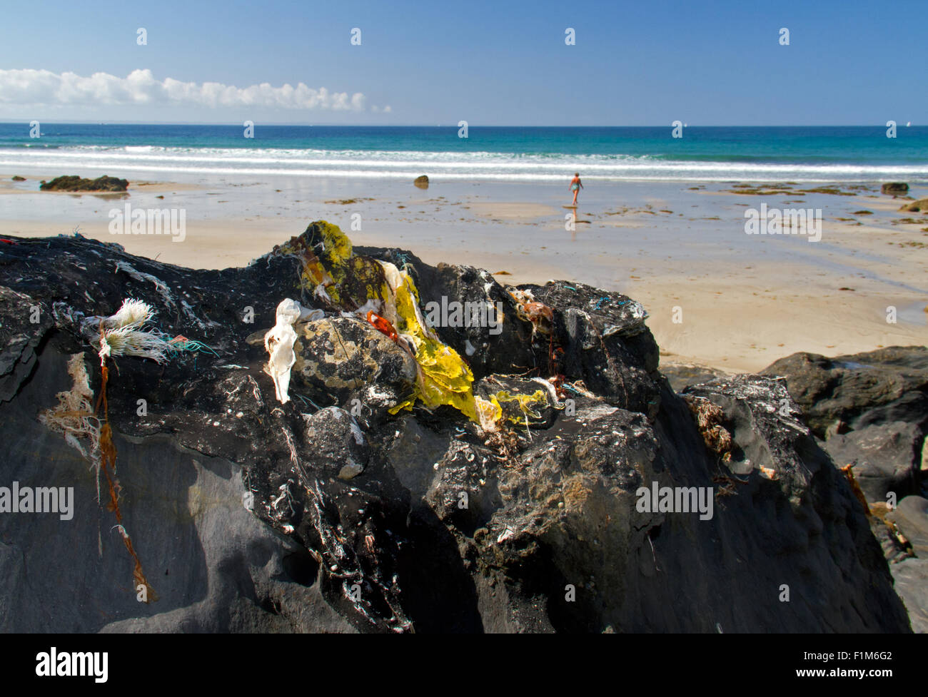 Relic of the Amoco Cadiz oil spill in 1978: an asphalt crust on he rocks on the coast of Brittany in France - Stock Image