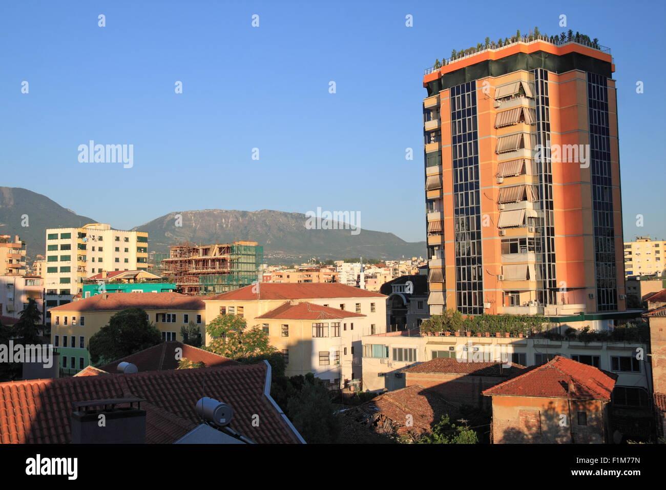 View of rooftops from Hotel Vila Alba, Tirana, Albania, Balkans, Europe - Stock Image