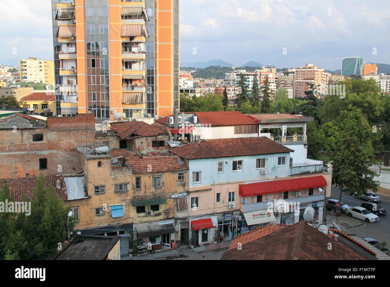 View of rooftops of Rruga Myrtëzim Kelliçi from Hotel Vila Alba, Tirana, Albania, Balkans, Europe - Stock Image