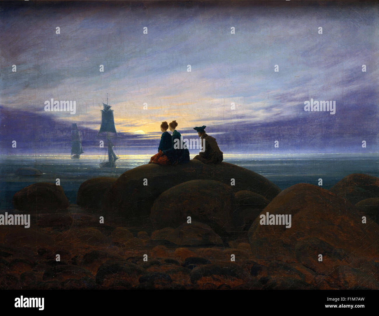 Caspar David Friedrich - Moonrise over the Sea - Stock Image