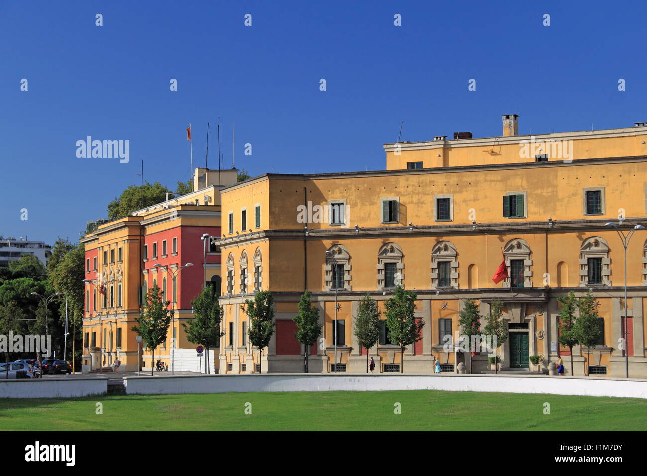 Ministry of Finance (left) and Ministry of Agriculture Rural Development and Water Management, Tirana, Albania, - Stock Image
