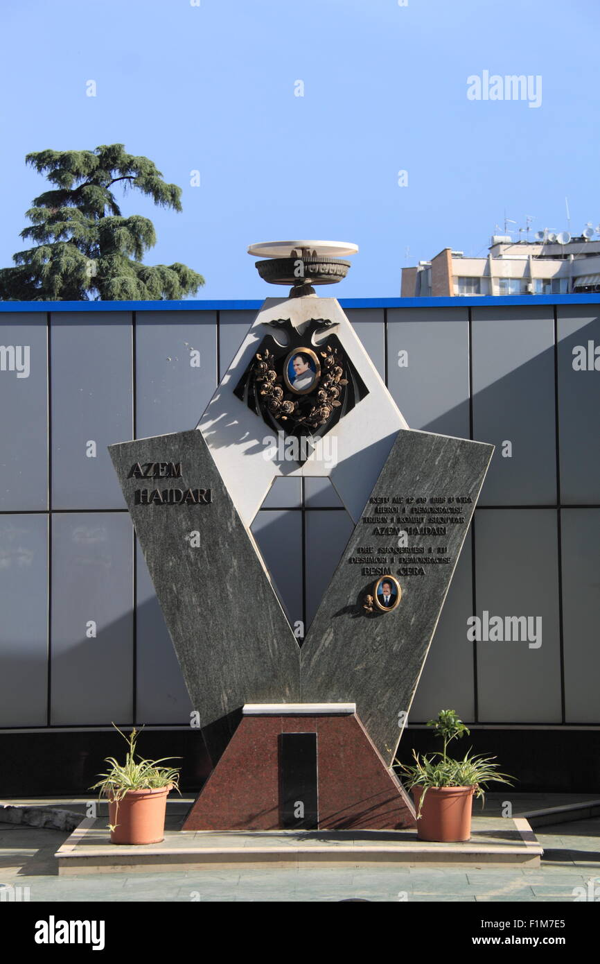 Memorial to student movement leader Azem Hajdari at the spot where he was assasinated in 1998, Tirana, Albania, - Stock Image