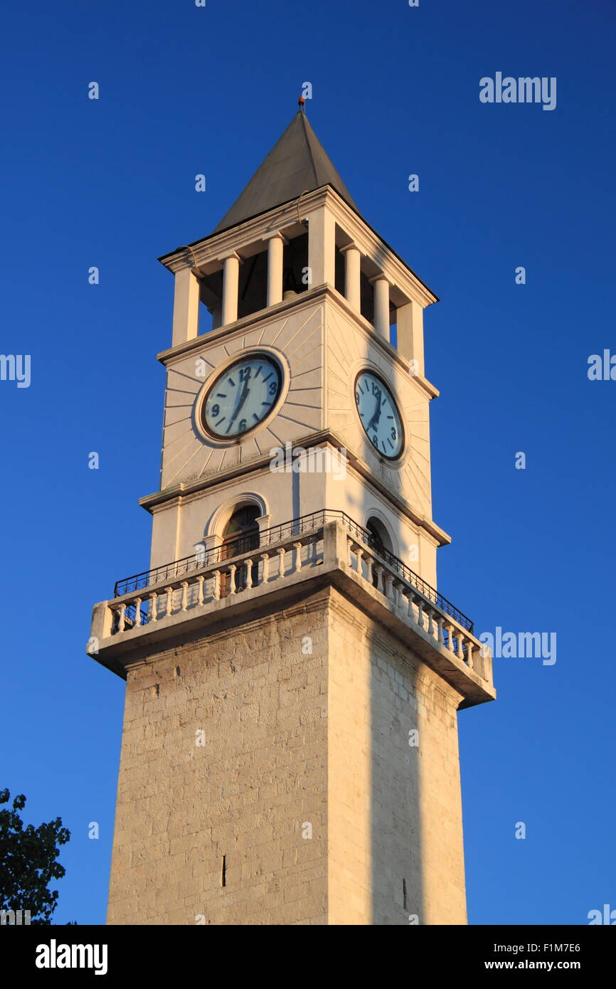 The Clock Tower, Rruga Abdi Toptani, Tirana, Albania, Balkans, Europe - Stock Image