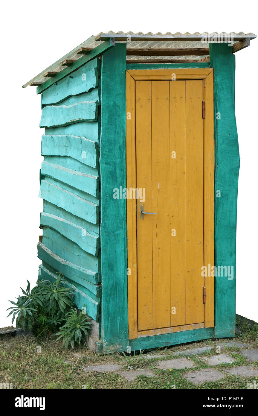 Blue wooden rural handmade  forest toilet with a yellow door. Isolated object  for  HalloweenSingular Halloween - Stock Image