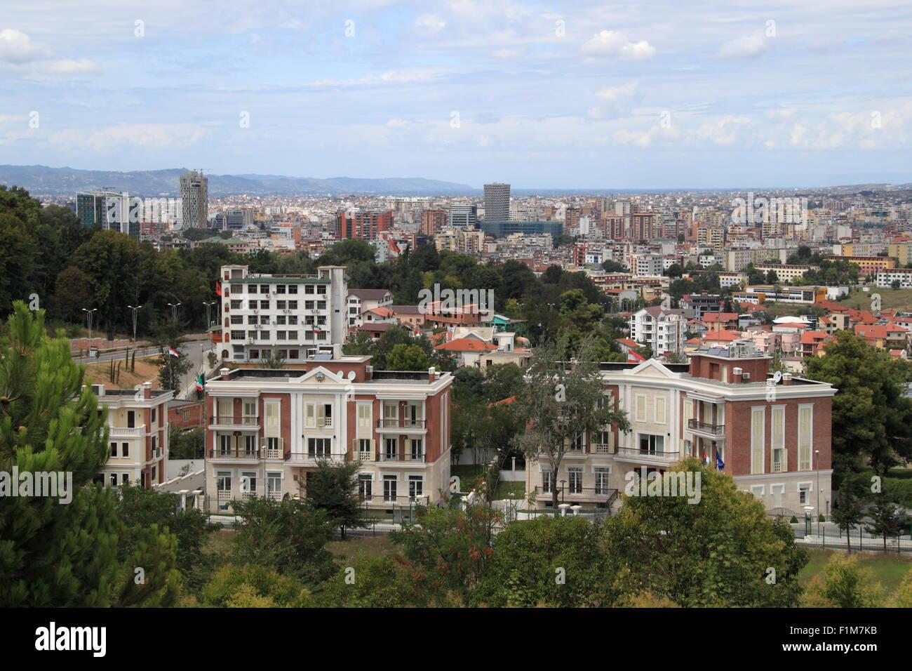 Tirana city centre seen from the National Martyrs Cemetery, Rruga e Elbasanit, Tirana, Albania, Balkans, Europe - Stock Image