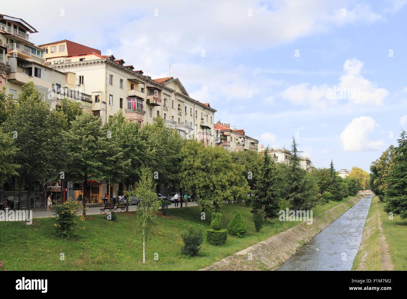 River Lana, Bulevardi Bajram Curri, Tirana, Albania, Balkans, Europe - Stock Image