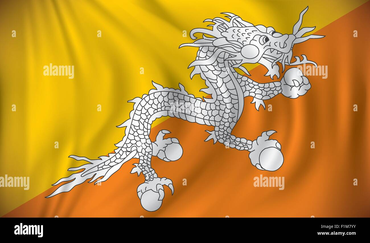 Flag of Bhutan - vector illustration - Stock Vector